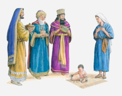 Stock Photo: 4268R-10863 Illustration of the three wise men bearing gifts see Jesus in Mary's house