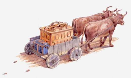 Stock Photo: 4268R-11136 Illustration of Ark of the Covenant being sent away by the Philistines, on cart without driver, cows pulling it straight towards an Israelite town, Book of Samuel