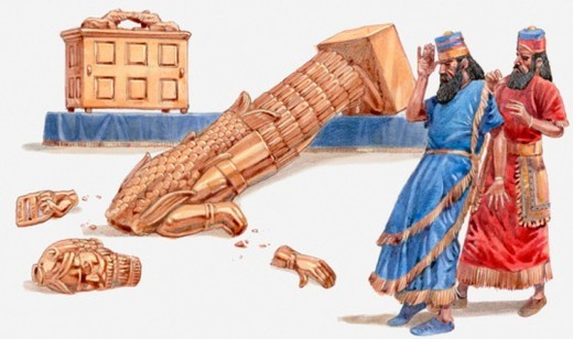 Stock Photo: 4268R-11147 Illustration of Ark of Covenant bringing plague and destruction to Philistine cities, Book of Samuel