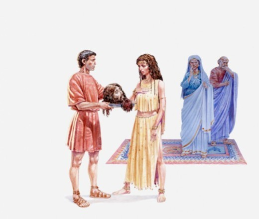 Illustration of Salome being presented with head of John the Baptist, her mother and King Herod watching in the background, Gospel of Matthew : Stock Photo