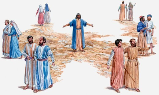 Illustration Jesus Christ sending out his disciples two by two to preach repentance, Gospel of Mark : Stock Photo