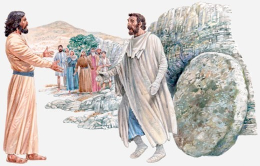Illustration of Jesus Christ facing Lazarus as he emerges from the tomb, people watching in the background, Gospel of John : Stock Photo