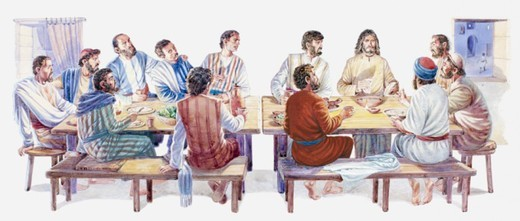 Illustration of Jesus and his disciples sitting down for Last Supper, Gospel of John : Stock Photo