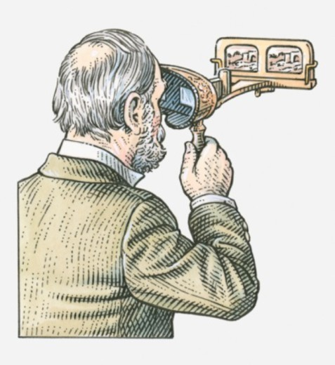 Illustration of man looking through stereoscope : Stock Photo