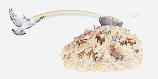 Illustration of Noah's ark with animals leaving the ark, dove carrying olive branch and rainbow appearing overhead, Book of Genesis : Stock Photo