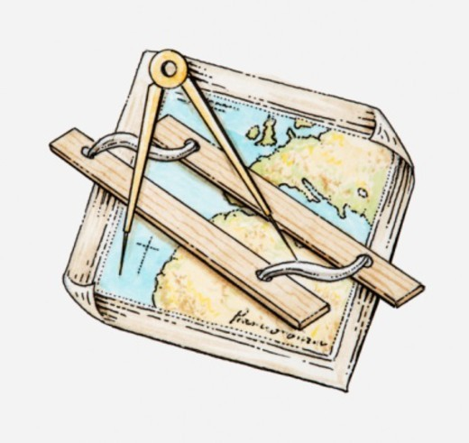 Illustration of ruler and pair of compasses on map : Stock Photo