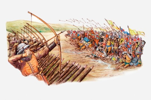 Stock Photo: 4268R-11659 Illustration of English and Welsh archers using cross bows against attacking French army during Hundred Years War