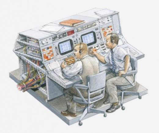 Stock Photo: 4268R-1168 Illustration of two men in Apollo 11 control room