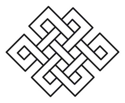 Black and white illustration of endless knot : Stock Photo