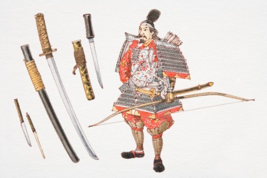 Stock Photo: 4268R-11862 11th century samurai and fighting swords.