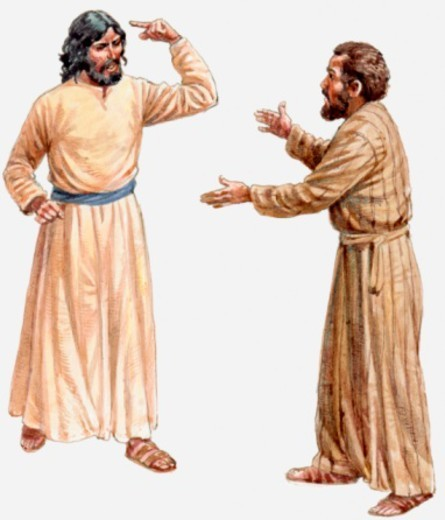 Illustration of Jesus Christ explaining that he must fulfil his destiny, to suffer and die, to his disciple Peter, Gospel of Matthew, The Transfiguration : Stock Photo