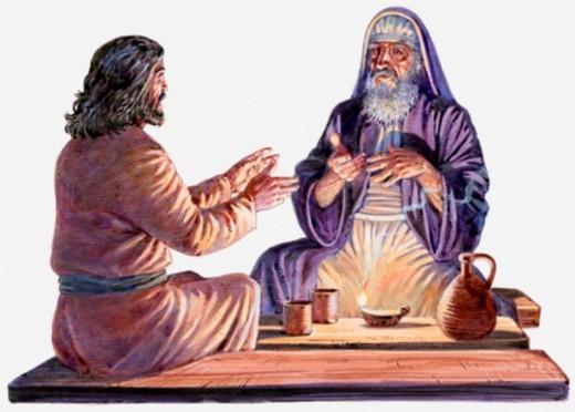 Stock Photo: 4268R-1201 Illustration of Jesus sitting down and talking with Nicodemus, a Pharisee, Gospel of John