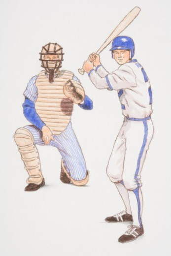 Baseball batter and backstop poised in their playing positions, front view. : Stock Photo