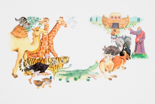 Stock Photo: 4268R-12322 Depiction of animals entering Noah's Ark two by two