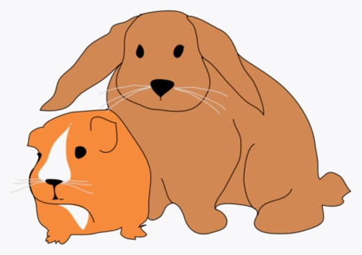 Digital illustration of guinea pig and large rabbit : Stock Photo