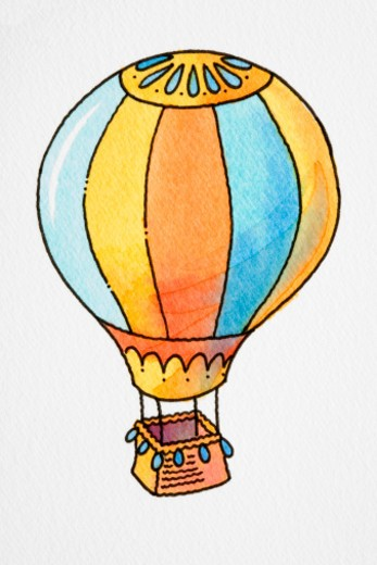 Cartoon, hot air balloon : Stock Photo