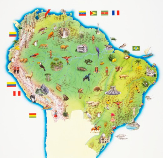 Map of Northern South America : Stock Photo