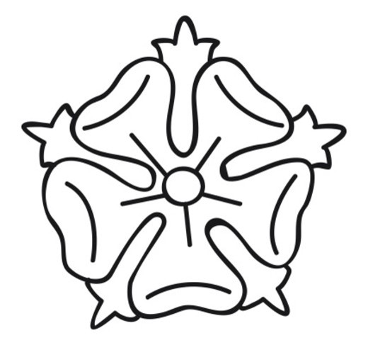 Black and white illustration of rose, a cadency mark symbolising Seventh Son on family coat of arms : Stock Photo