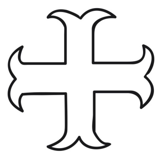 Black and white illustration of heraldic Cross of Moline, cadency mark for eighth son : Stock Photo