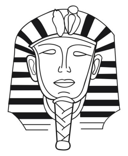 Black and white illustration of burial mask of Tutankhamen : Stock Photo