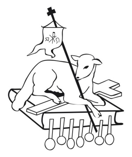 Black and white illustration of lamb lying on cross and Book of Seven Seals symbolizes triumph of Christian faith at Last Judgement : Stock Photo