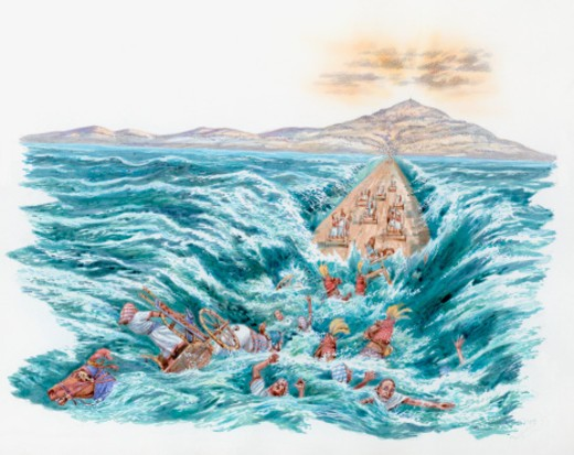 Illustration the Red Sea covering the chariots and horsemen of Pharaoh's army after parting for Moses and the Hebrews  : Stock Photo