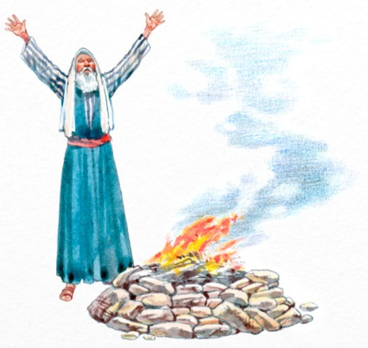 Illustration of Noah with arms up above head, with fire in small mound of rocks at his feet : Stock Photo