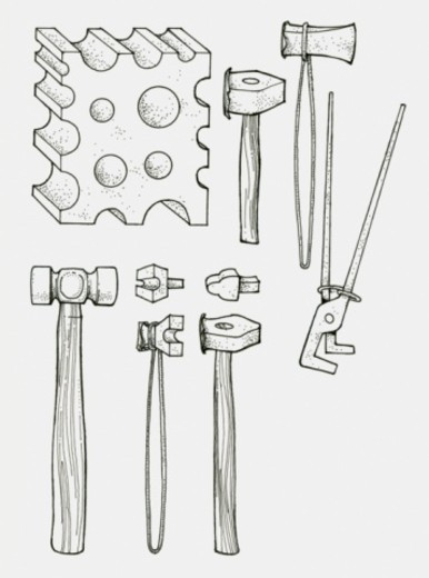 Black and white illustration of work tools : Stock Photo
