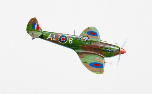 Stock Photo: 4268R-13731 Illustration of RAF Supermarine Spitfire in mid-air