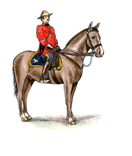 Illustration of Royal Canadian Mounted Policeman sitting on horse : Stock Photo