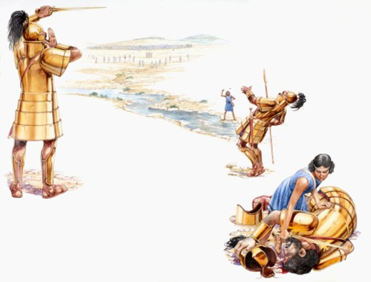 Stock Photo: 4268R-13807 Sequence of illustrations showing Goliath, holding sword, shouting challenge to David, David holding catapult above head after wounding Goliath who falls back hit by stone, and David decapitates Goliath as he lies bleeding
