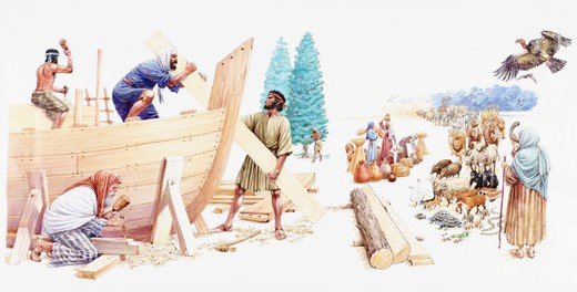 Stock Photo: 4268R-13823 Illustration of Noah and his three sons Shem, Ham, and Japheth constructing the Ark as his wife calls chosen animals using shofar