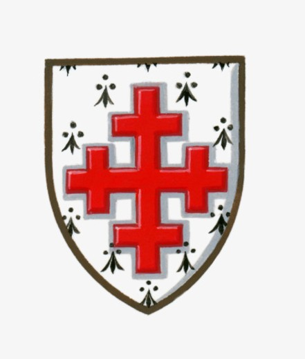 Illustration of heraldic Emine crosslet Gules on shield : Stock Photo