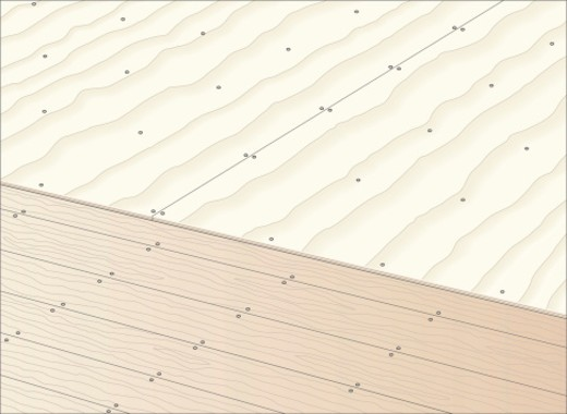 Digital illustration showing plywood sheets nailed on top of boarded floor : Stock Photo