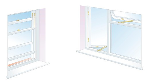 Digital illustration of spring metal strip, foam strip, and rubber seal on sash window, and foam strip draughtproofing casement window : Stock Photo