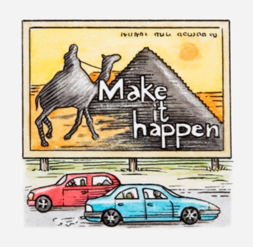 Illustration of cars driving past advertising billboard showing Egyptian pyramids and camel : Stock Photo