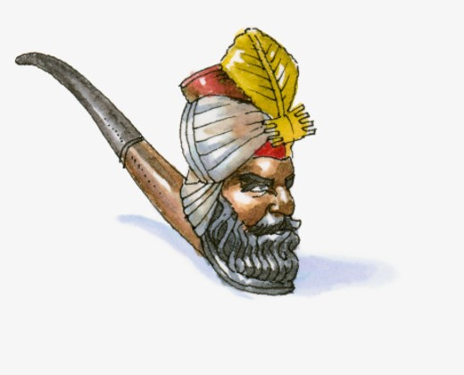 Illustration of hand-carved pipe with bowl in shape of sultan's head, from Ankara region of western Anatolia  : Stock Photo