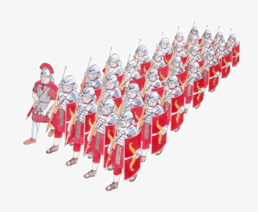 Stock Photo: 4268R-14191 Illustration of Roman Legion marching in formation holding shields and javelins