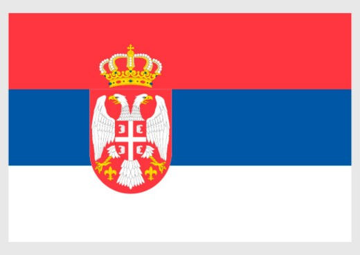 Illustration of State flag of Serbia, with double-headed eagle and crown at centre of horizontally divided red, blue and white rectangular defaced tricolor : Stock Photo