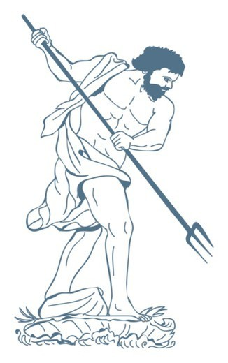 Digital illustration of Poseidon, Greek god of the sea holding trident : Stock Photo