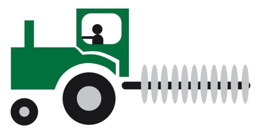 Digital cartoon illustration of tractor : Stock Photo