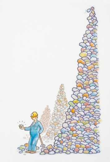 Stock Photo: 4268R-14764 Illustration of miner leaning on spade next to tall stack of rocks holding sparkling diamond in hand