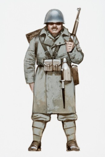 Illustration of World War Two Italian soldier : Stock Photo