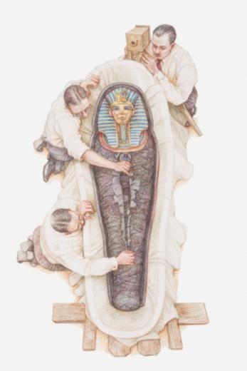 Illustration of archaeologists opening sarcophagus of Tutankhamun : Stock Photo