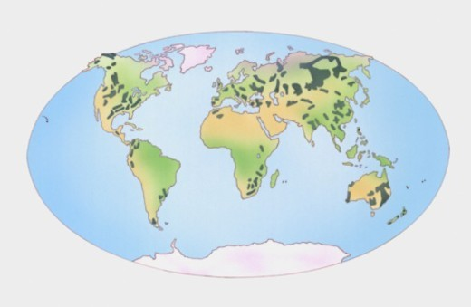 Illustration showing distribution of coal producing countries shown on world map : Stock Photo