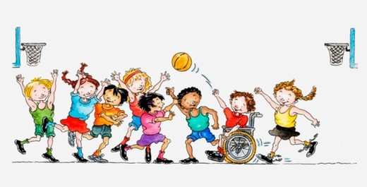Illustration of a group of children including a child in a wheelchair playing basketball together : Stock Photo