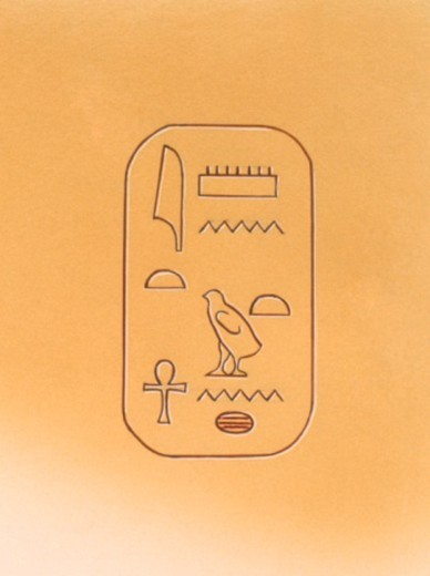 Stock Photo: 4268R-15223 Illustration of hieroglyphics representing Tutankhamun