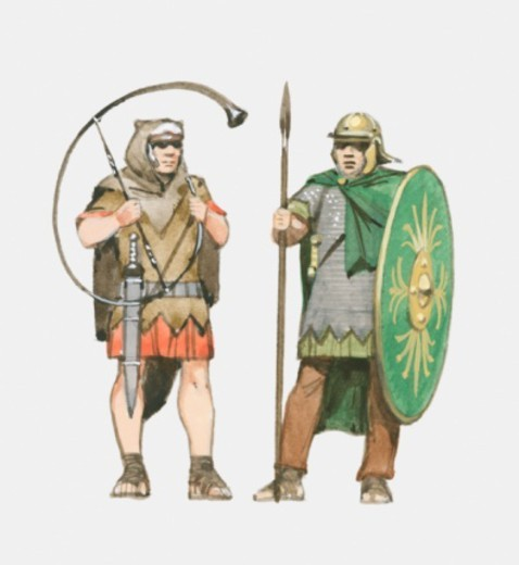 Illustration of Roman soldier holding horn and Roman auxiliary soldier holding spear and shield : Stock Photo