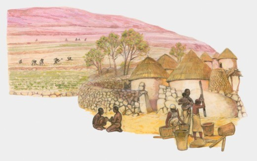Settlement of the Engaruka poeple, Northern Tanzania, c. 15th century : Stock Photo