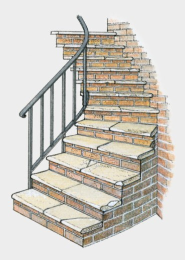 Illustration of bricks steps with handrail : Stock Photo